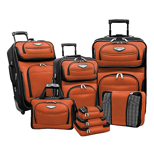 Travel Select Amsterdam Expandable Rolling Upright Luggage, Orange, 8-Piece Set