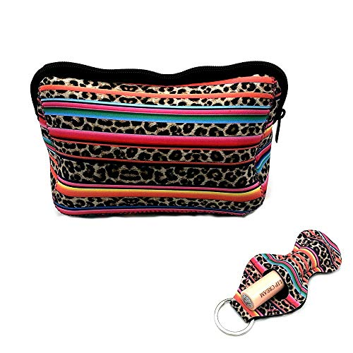 Rainbow Leopard Bag Large Waterproof Soft Neoprene Zipper Travel Portable Toiletry Makeup Organizer Case With Lip Balm Chapstick Holder Keychain …