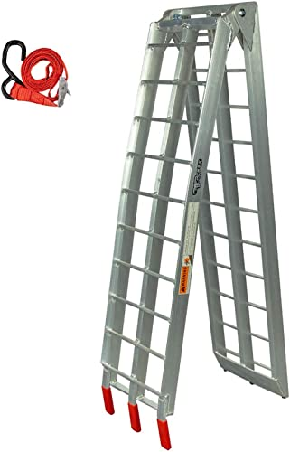 """Pit Posse PP2755 Aluminum Folding Truck Ramp for Motorcycle Loading 7.5ft (89"""") - 750lbs Rated - Includes Bonus Strap..."""