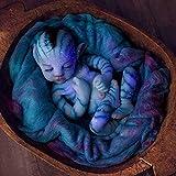YXX Renacer Muñecos Bebe Realista Muñecos Bebé Renacido Orejas Puntiagudas Doll Realista Nuevo Renacido Niño Pequeño para Niños Cumpleaños Playmate Growth Partner,Azul,55cm