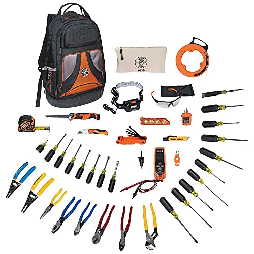Klein Tools 80141 Tool Set with Utility Knife, Adjustable Wrenches, Screwdrivers, Pliers, and More, 41 Piece