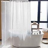 NTBAY EVA Clear Duschvorhang Liner, Wasserabweisender Duschvorhang für Badezimmer Duschkabine, kariert, 182,9 x 182,9 cm