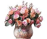 Lot de 2 bouquets de fleurs Artificielles Lumenty la Décoration Intérieure-Chaque Bouquet est Composé de 7 tiges Dotées de Feuilles et de 21 Têtes de fleurs-Style Rétro-Couleur Rose