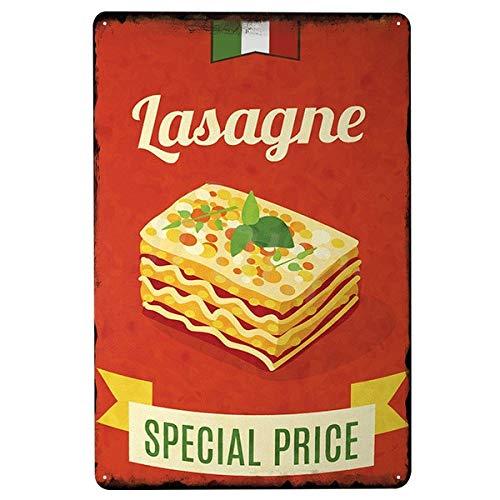 Placa clásica italiana de lasaña, cartel de lata, decoración vintage, cartel de metal para el hogar, decoración de pub de cerveza – Letrero de 20 x 30 cm