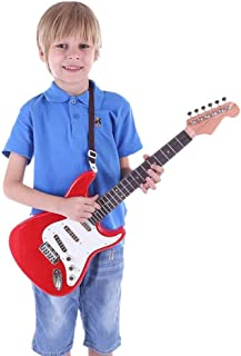 Mumoo Bear Kids Guitar Electric Guitar Kids Toy Music Instrument Gift for Boys Girls Beginners Red