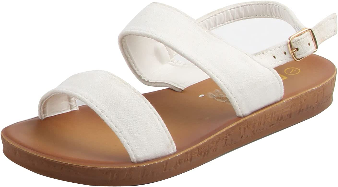 Charmstep Oakland Mall Women's Suede Slingback Strappy Toe Denver Mall Open Sandals Flat