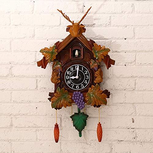 MILECN Reloj de Cuco - Cabeza de los Ciervos de Pared Decorativos Clock- Reloj Antiguo de Cuarzo péndulo del Reloj de Pared Decoración para el Hogar - 41cm,A