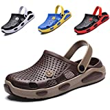 CYian Womens Mens Sandals Non Slip Slippers for Indoor and Outdoor Garden Mules Clogs Shoes with Elastic Strap,Khaki-Women9/Men 7