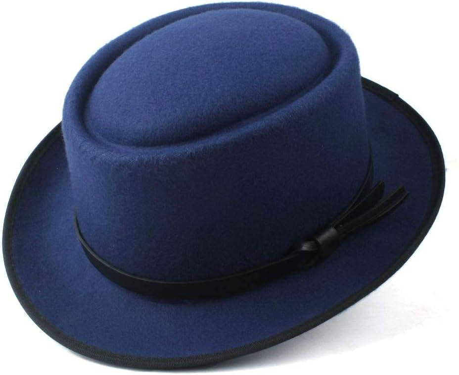 HHF Caps & Hats Women's Men Fedora Hat, Pork Pie Hat Lady Church Wool Felt Hat, Porkpie Church Fascinator Cap Hat, Size 58cm (Color : Blue, Size : 58)