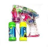 Oramics Seifenblasenmaschine Seifenblasen-Pistole mit 2 Behälter + beleuchtet und mit Sound transparent mit LED Leuchten (4 er Set)