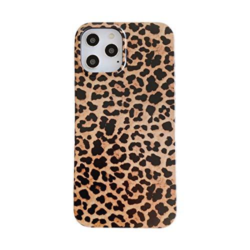 QfireQ Case Compatible con iPhone 11/12/12 Mini/12 Pro MAX Moda Estuche para teléfono con Estampado de Leopardo Ultrafino Protección de Todo El Cuerpo Flexible de TPU Case,Marrón,12 Pro
