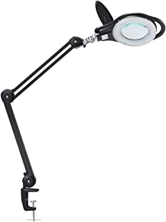 LED Magnifier Lamp, PHIVE Dimmable Magnifying Desk Lamp/Task Light with Clamp (3 Lighting Modes, 5 Diopter, 5'' Diameter Glass Lens, Dust Cover) Swing Arm Workbench, Drafting, Work Light