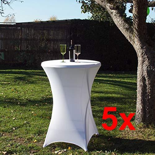 TRUTZHOLM® 5 Stück Tischdecke Husse Partytisch Bistrotisch Stehtischhusse Decke weiß 80 cm