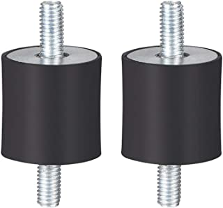 uxcell ゴム製振動マウント ゴム製 ブラック エアコンプレッサーボビンアイソレータダンパー D20 x H20 M5 x11mmスタッド 2個入り