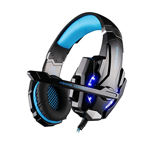 DERCLIVE Portable PC Wired Stereo Gaming Headset with Mic LED Light to Eliminate Noise