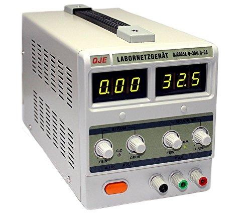 Komerci Labornetzgerät Netzteil Stromversorgung Transformator QJ3005E-PK 0-30V, 0-5A, passive Kühlung ohne Lüfter, Grau