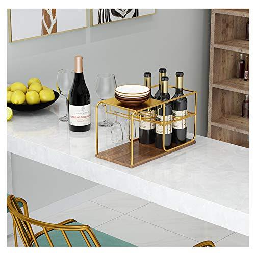 HOYX - Botellero Estantes para Vino de Mesa de Cocina y Estante para artículos Diversos, Accesorios para Vino de Madera, Estante para Vasos Organizador, Estante para Secado, Comedor
