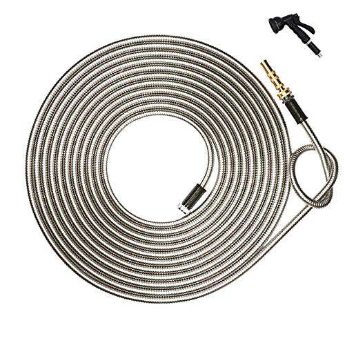 HIGH GRAND 25 ft 304 Stainless Steel Metal Garden Hose Pipe With Solid Brass Nozzle, 8 Function Spray Gun,Lightweight Portable Durable Flexible and No Kink Cool to The Touch Tangle Puncture Resistant