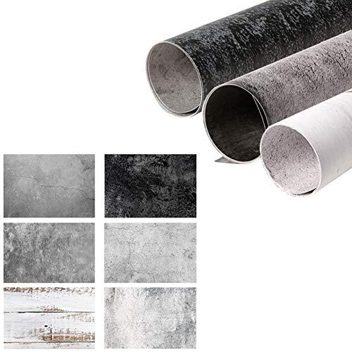Selens 3 Stück 2in1 Hintergrund 56x88cm Weiß Holzmaserung/Betonzementwand/Zement Textur Flat Lay Tischplatte Fotografie Doppelseitiger Hintergründe für Gourmet Kosmetik Produktfotografie