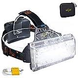 Linterna frontal, LETOUR Linterna Frontal Recargable, luz de inundación COB de alto brillo, luz de trabajo impermeable para camping, contenedor de batería más grande, tiempo de trabajo superlargo