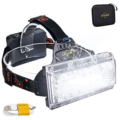 Stirnlampe LED, LETOUR Stirnlampe LED Superhell 2500LM COB Wiederaufladbar Stirnlampe LED Wasserdicht für Camping Angeln Wandern Super lange Arbeitszeit