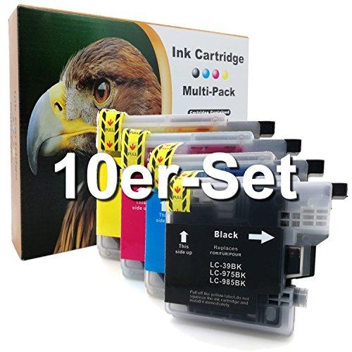 10er-Set D&C Druckerpatronen kompatibel mit Brother LC-985 DCP J125 J140 W J315 W J515 W MFC J220 J265 W J410 J415 W ersetzt LC-985 LC39 LC975 LC-985