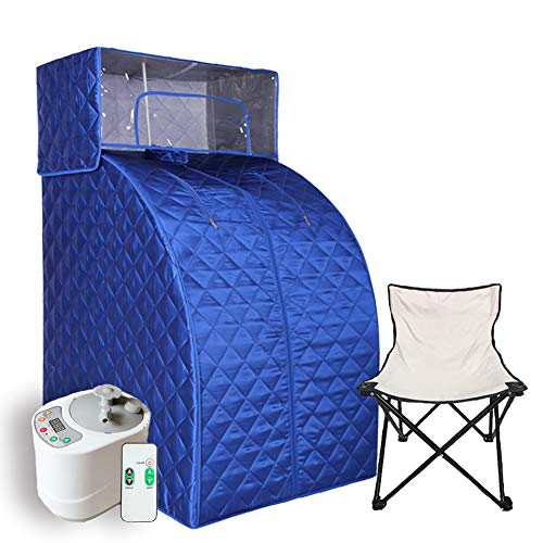 Smartmak Steam Sauna Set, 2L Steamer with Remote Control, Home Full Body One Person Heat Box with Head Cover and Chair kit for Weight Loss &Detox Therapy- Blue