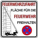 Schild Feuerwehrzufahrt Fläche für die Feuerwehr freihalten Halteverbot Alu 500 x 500 mm