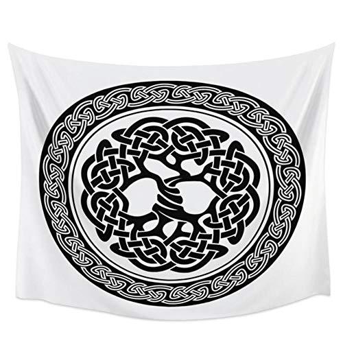 Tapiz indio azul barco de guerra de los vikingos Drakkar en fuego y runas nórdicas bandera de guerrero negra tapices decoración del hogar