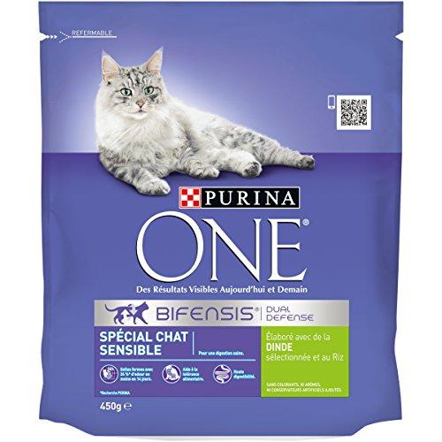 Purina One 558486 Spezial sensibel Katze, Türkei und Reis, Lebensmittel Erwachsene Katze (450g)