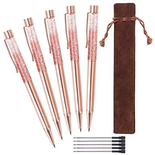 ZZTX 5 Pcs Rose Gold Ballpoint Pens Metal Pen Bling Dynamic Liquid Sand Pen with Refills Black Ink Office Supplies Gift Pens for Christmas Wedding Birthday, with 5 Pcs Velvet Gift Pouch