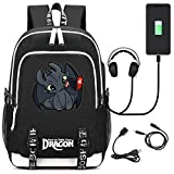AUGYUESS Sac à Dos avec Port de Charge USB pour Apprendre à Former Votre Dragon 2