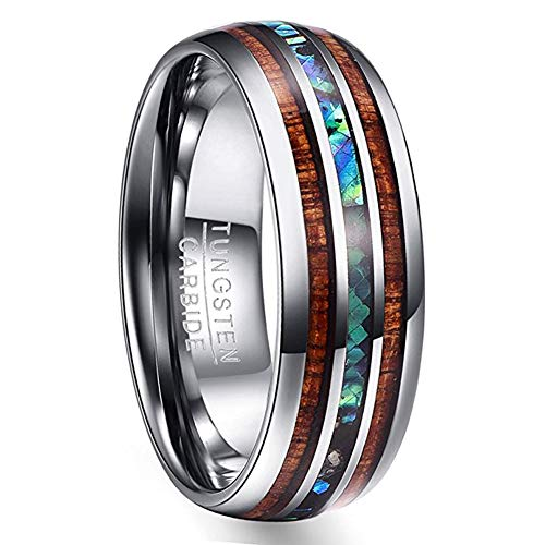VAKKI 8mm Mens Tungsten Wedding Band Koa Wood and Abalone Shell Inlay Comfort Fit Engagement Ring Size 13