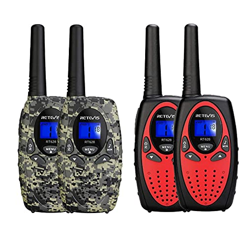 Retevis RT628 Walkie Talkies for Kids (Red,2 Pack) Bundle RT628 Kids Walkie Talkies (Camouflage,2 Pack),Toys Gifts for 3-14 Years Old Boys Girls for Family Game Outdoor Adventure