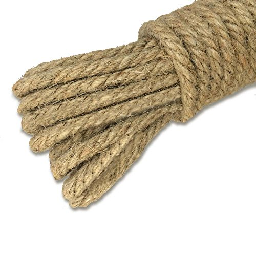 KINGLAKE 100% Natural Thick Strong Jute Rope 66 Feet 5mm 3 Ply Hemp Rope Cord for Arts Crafts DIY Decoration Gift Wrapping
