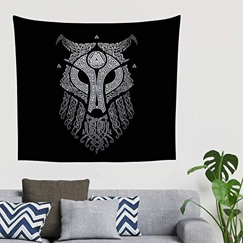 Chenso Tapiz Colgante de Pared Hippie nórdico Vikingo Fenrir Lobo dragón Nudo Celta tótem Tapiz...