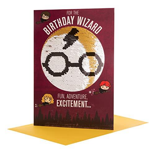 Hallmark, biglietto di compleanno reversibile con lustrini 'Harry Potter' – medio