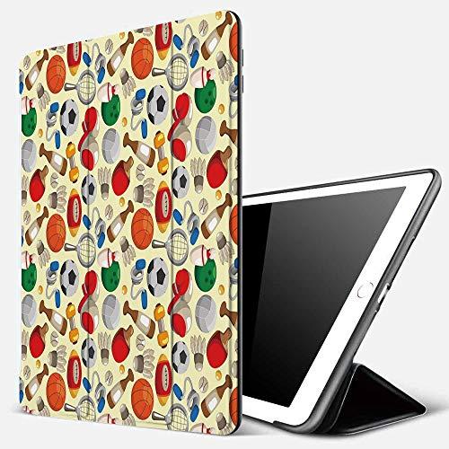 Funda iPad 10.2 Inch 2018/2019,Deporte, Dibujos Animados Estilo de Dibujo Artículos Deportivos Bolas Bolos Tenis Ping Pong Boxeo Fútbol, Multico,Cubierta Trasera Delgada Smart Auto Wake/Slee