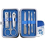 Bluelover 7Pcs Nail Clipper Manicura Set Tijeras Pinzas Pedicura Herramienta Azul Y Blanco Caso De Porcelana De Viaje