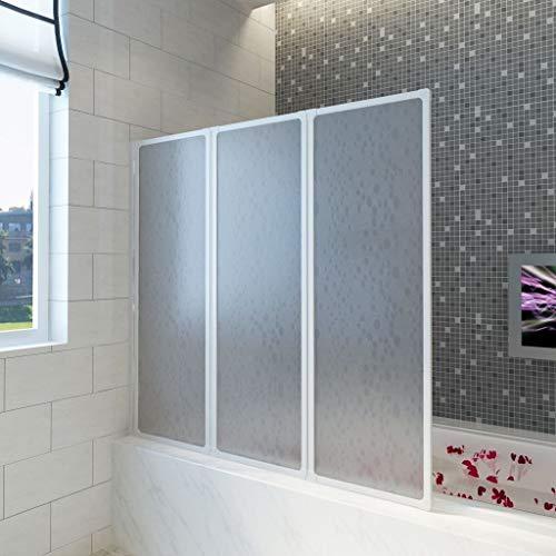 Festnight Badewannen Faltwand Eckeinstieg Duschabtrennung Badewannenfaltwand Duschwand Duschkabine Aluminiumrahmen mit Polyprylen Platten 141 x 132 cm