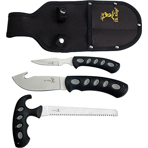 Elk Ridge - Outdoors 3-PC Hunting Knife Set - Satin Finish Stainless Steel Blades, Black Nylon Fiber Handles, Includes Combo Sheath - Hunting, Camping, Survival - ER-252
