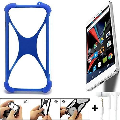 K-S-Trade® Bumper Für Archos Diamond 2 Plus Schutzhülle Handyhülle Silikon Schutz Hülle Cover Case Silikoncase Silikonbumper TPU Softcase Smartphone, Blau (1x), Headphones
