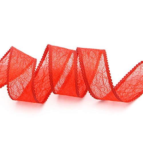 5 meter / 6 meter 25 mm holle mesh kant trim lint stof tape diy huwelijkscadeau verpakking partij decoratie accessoires p0515, c3 rood 5j