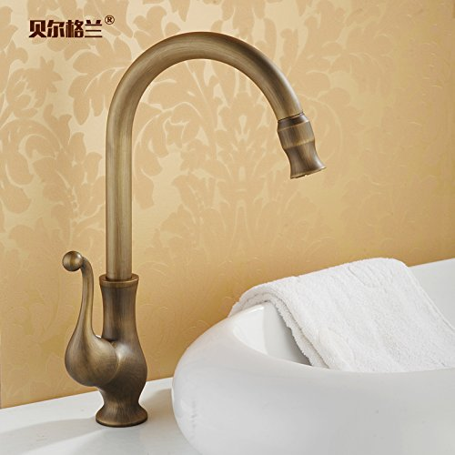 Kitchen Sink Faucet Basin Mixer Tap Bathroom Faucets with US Standard Fitting Single Handle Antique All-Copper Hot And Cold Water Faucet Rotatable Kitchen Sink Dish Basin Wash Basin Universal Faucet