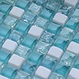 Hominter 5-Sheets White Stone Mosaic Kitchen Backsplash, Sea Blue Glass Tile Bathroom Wall and Floor Tiles, Crackled Crystal Tile for Shower Accent STBL001