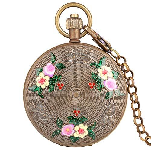 J-Love Reloj Bolsillo Viento Mano mecánico con Tourbillon Cobre Puro, Reloj diseño Elegante con Flor Tallada Cazador Doble Retro