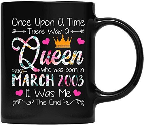 DKISEE Tasse à café pour 18e anniversaire de fille, cadeau d'anniversaire 18 ans, reine mars 2003, cadeau pour père et mère, grand-père, grand-mère et ami, 325 ml
