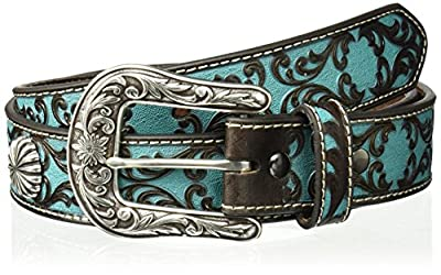 Ariat Women's Turquoise Scroll Silver Concho Belt, blue, Medium