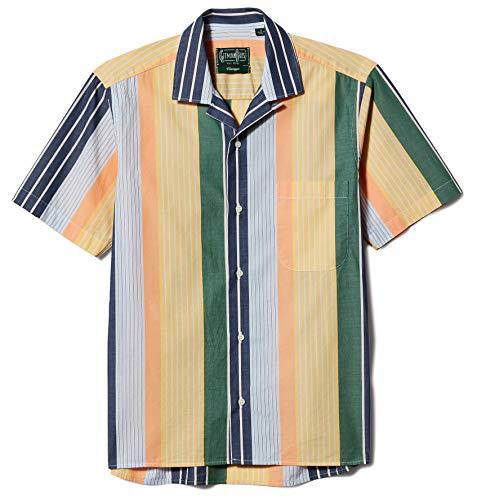 Gitman Vintage Men's Cotton Awning Stripe Camp Collar Shirt, Multi, Large