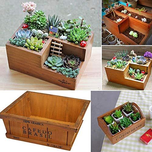Saddpa Plantenbakken van houten planten, voor vetplanten, planten, tuintafel, accessoires, tuintafel, tuin, plantenbox, accessoires